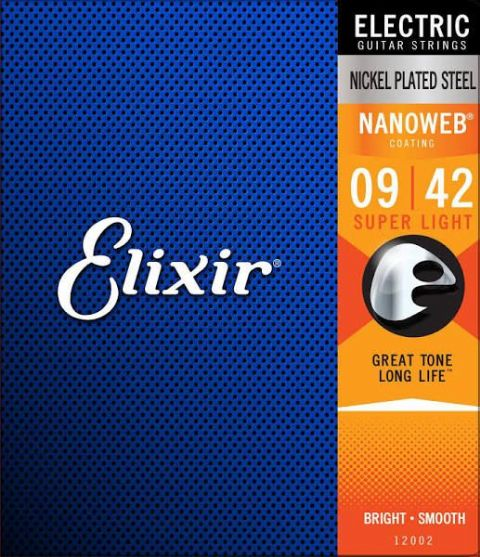 Elixir Nanoweb Nickel Plated  Steel Electric Guitar Strings  9-42